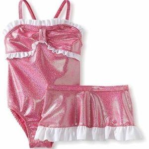 Baby Buns 1 Pc Dot Ruffle Swimsuit Skirt Set 2T